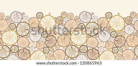 Vector wood log cuts horizontal seamless pattern ornament background with hand drawn - stock vector