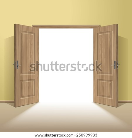 Vector Wood Open Door with Frame Isolated on Background - stock vector