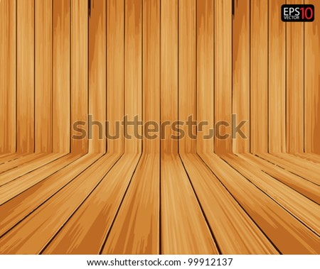 Vector wood room with panel and floor background - stock vector