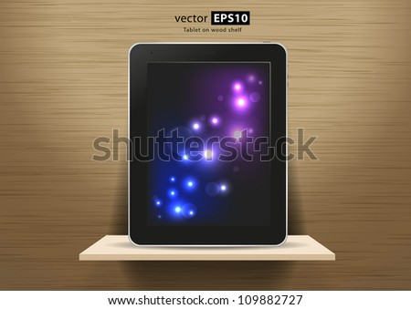 vector wood shelf and tablet on wood wall - stock vector