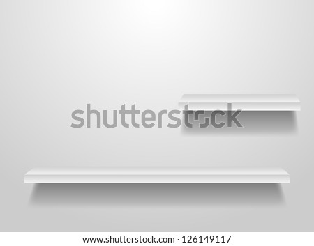 Vector wood shelf on wall  Frame. - stock vector