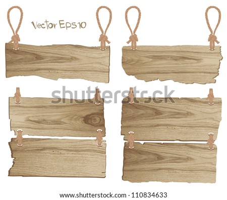 Vector wood signboard - stock vector