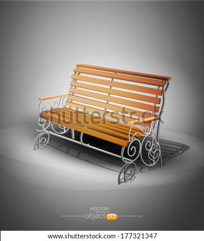 vector wooden bench - stock vector