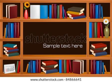 Vector wooden bookshelves. - stock vector