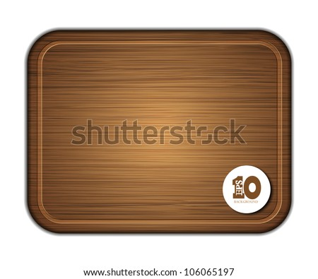 Vector wooden cutting board isolated on white background. Eps 10 - stock vector