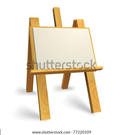 Vector wooden easel with blank canvas - stock vector