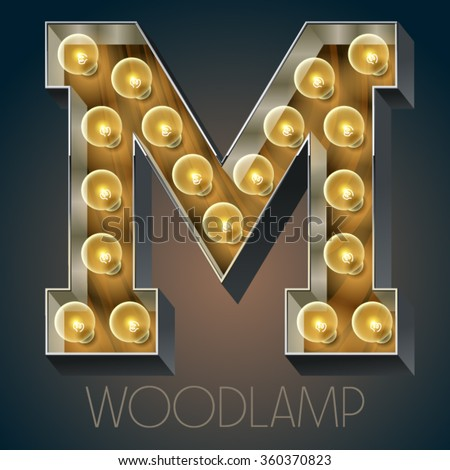 Vector wooden electric light up lamp alphabet in hard font. Letter M - stock vector