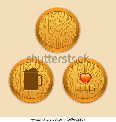 Vector wooden elements for pubs, beer companies - stock vector