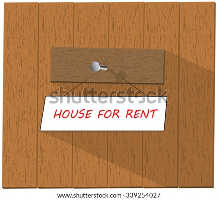 Vector wooden fence and a sign saying House For Rent, isolated over white background vector illustration - stock vector