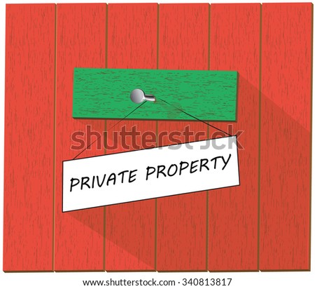 Vector wooden fence and a sign saying Private property, isolated over white background vector illustration - stock vector