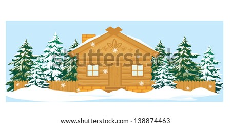 Vector wooden house with a fence and different trees in winter - stock vector