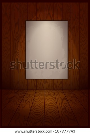 vector wooden interior room with paper frame - stock vector