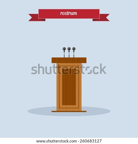 Vector Wooden Podium Tribune Rostrum Stand with Microphones Isolated on Grey Background. Flat style design - vector. - stock vector