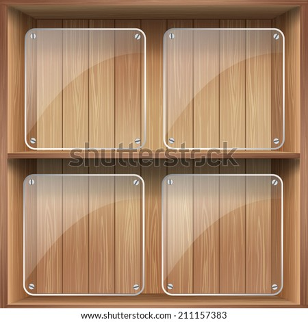vector wooden shelf with empty glass box  - stock vector