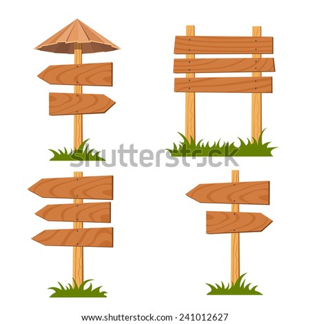 Vector wooden signs set  - stock vector