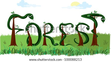 vector word forest - stock vector