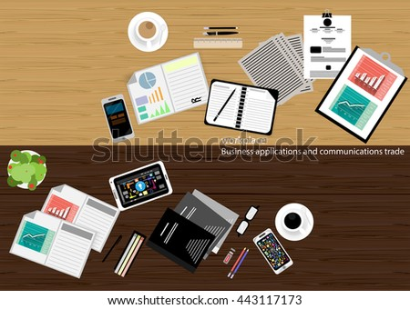 vector workplace Business applications and communications with commercial paper, documents, files, pens, pencils, cell phone, tablet, glasses, coffee cups, flat design - stock vector