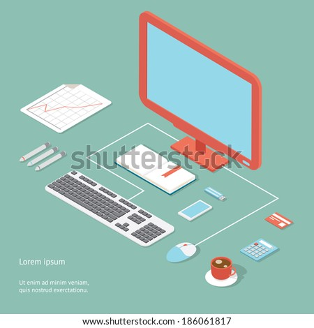 Vector workplace in flat style showing an office desk with a desktop computer  wired keyboard and mouse  calculator   coffee  bank card and pens with an analytical graph - stock vector