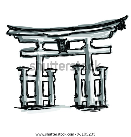Vector World famous landmark collection : Japan Traditional Gate, Japan - stock vector