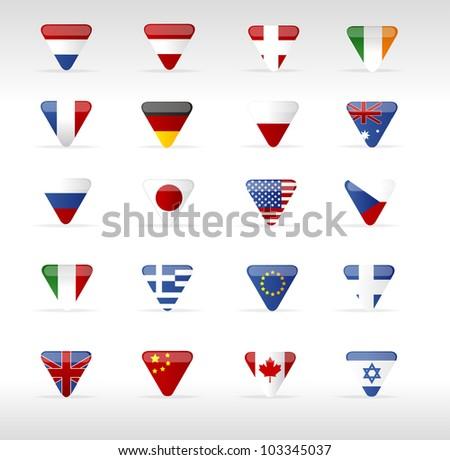 Vector world flags triangle - stock vector