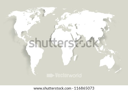 Vector world illustration with smooth vector shadows and white map of the continents of the world- design element for infographics, and other global illustrations - stock vector