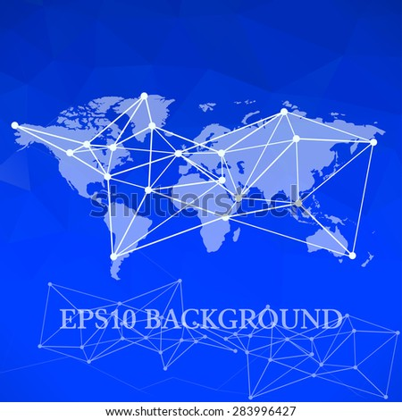 Vector World map background. infographic element, global network and communication net scheme - stock vector