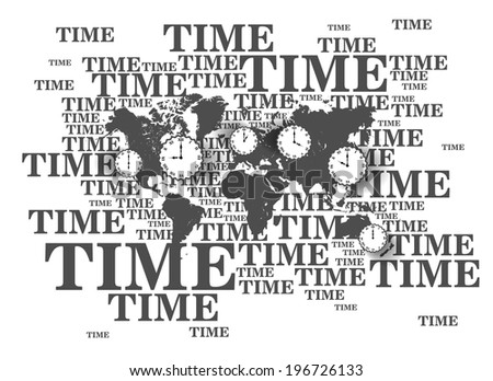 Vector world Map background - time theme  - stock vector