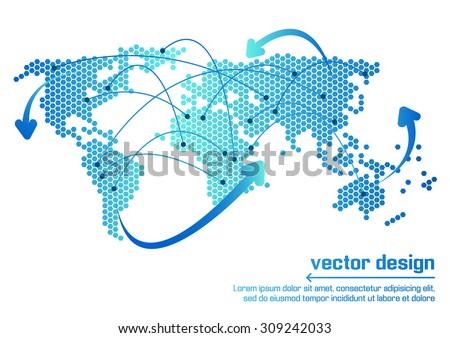 Vector world map design - stock vector