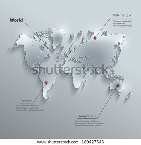 vector World map glass card paper 3D - stock vector