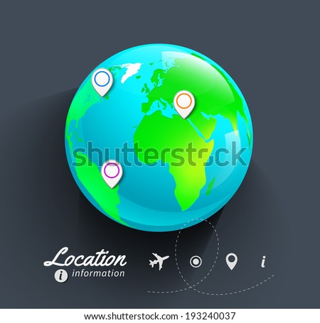 Vector World map. Globe. - stock vector