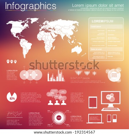 Vector world map illustration and infographics design template. flat modern style. Easy to edit country. White infographics on color background - stock vector