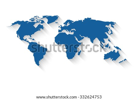 Vector world map in a flat style with a long gradient shadow - stock vector