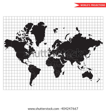 Vector world map. Most popular and usefull cylindrical conformal Mercator map projection. Scale equal in all directions around any point.  Mercator world map. World map with borders and countries. - stock vector