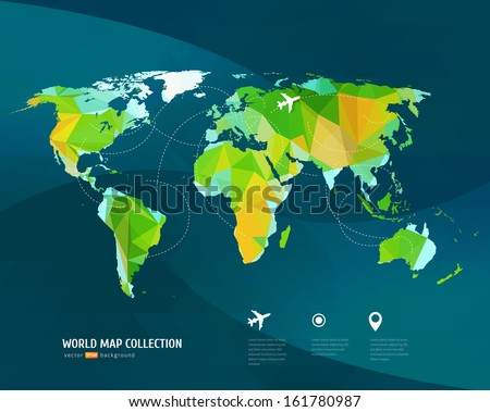 Vector World map on dark background. Triangle set. - stock vector