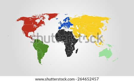 Vector World Map. Symbolic colors for every Continent. High detail illustration. 2015 version. - stock vector
