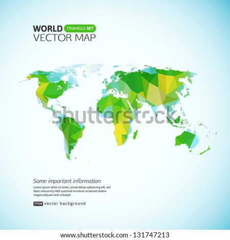 Vector world map. Triangle set - stock vector