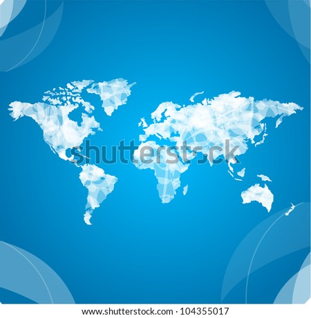 Vector world map white - stock vector