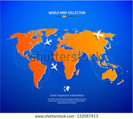 Vector World map with airlines and information graphics - stock vector