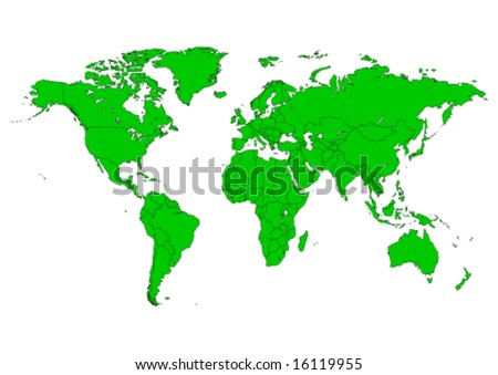 Vector world map with editable countries - stock vector