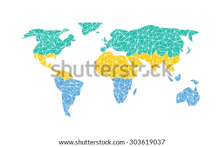 Vector world map with flag of Gabon. - stock vector