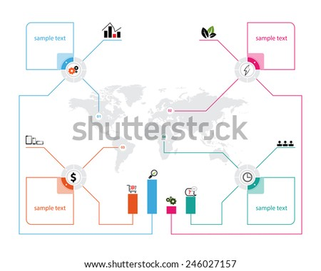 vector world map with icons infographics and place for text - stock vector