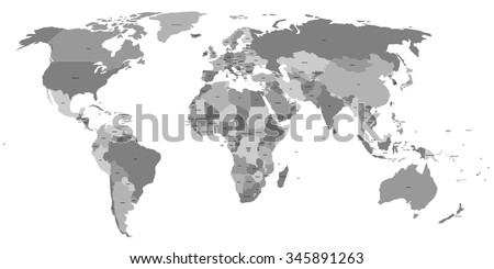 Vector world map with labels of sovereign countries and larger dependent territories. Every state is a group of objects in grey color without borders. South Sudan included. - stock vector