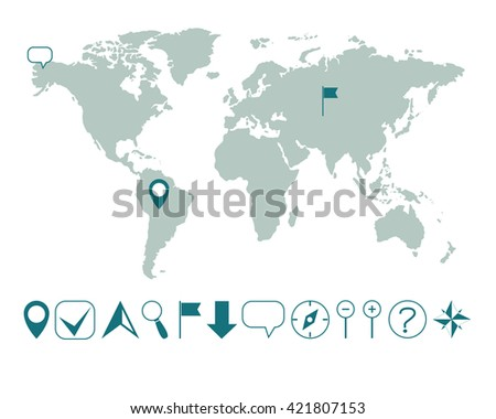 vector world map with various icons easy editable - stock vector
