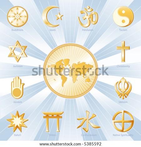 vector, WORLD RELIGIONS, MAP: Buddhism, Islam, Hindu, Taoism, Christianity, Sikh, Native Spirituality,  Confucianism, Shinto, Baha'i, Jain, Judaism. EPS8 compatible. - stock vector