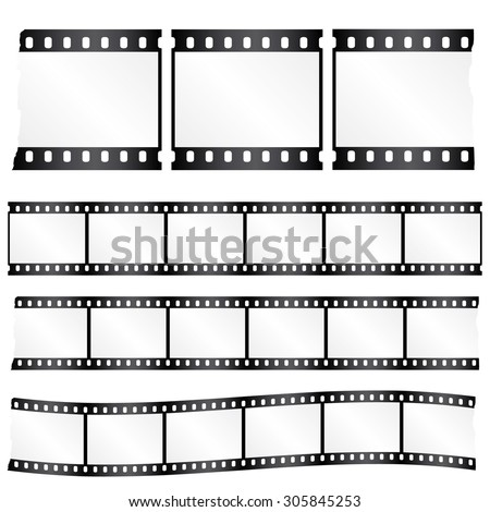 Vector worn torn film strips - waveform and straight strip. Insulated windows - you can create variable long straight filmstrip. Eps 10 vector file.  - stock vector