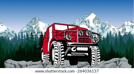 Vector 4x4 vehicle off-road car and mountains forest seamless background - stock vector