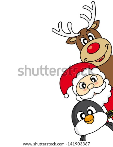 vector xmas illustration of santa claus, reindeer and penguin - stock vector
