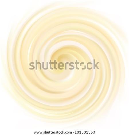 Vector yellow  background of swirling creamy texture  - stock vector