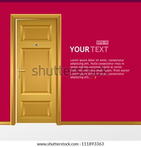 Vector yellow door in the pink wall for text - stock vector