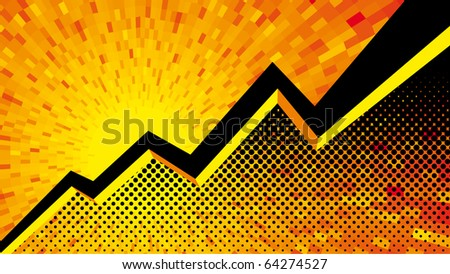 Vector yellow Graph background - stock vector